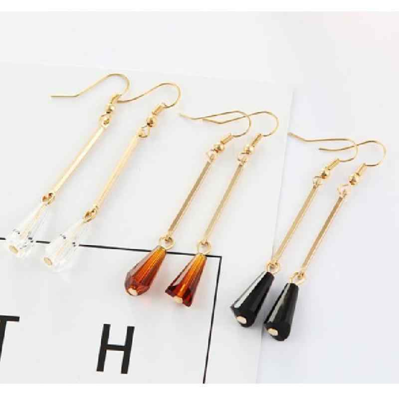 2016 New Jewelry Earrings Geometric Super Fast Flash Temperament Crystal Water Droplets Long Earrings For Women Wholesale