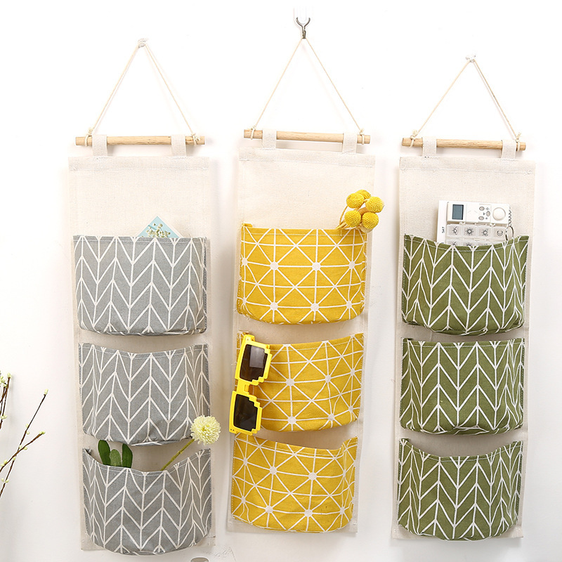 ROSEHOME Creative Linen Cotton Waterproof Geometic Three Storage Pockets Wall Hanging Storage Bags Home Decor Wall Housekeeping