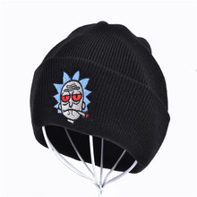 Rick and Morty Winter Hats Beanies Elastic Brand Embroidery Ski Gorros Cap Warm Unisex Knitted Hat Skullies 5 Colors