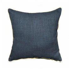 Free Shipping Dark Denim Blue Linen Like Plain Cushion Cover Solid Faux  Linen Pillow Case