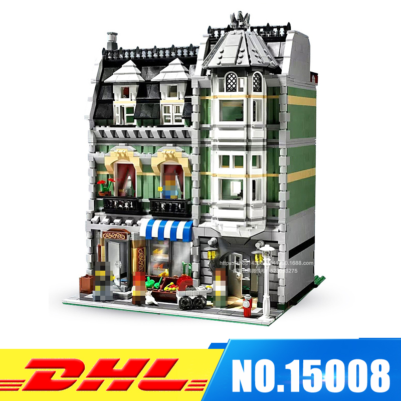 DHL More Stock 2462Pcs LEPIN 15008 City Street Green Grocer Model Building Blocks Bricks intelligence Toys Compatible With 10185 dhl lepin15008 2462pcs city street green grocer model building kits blocks bricks compatible educational toy 10185 children gift