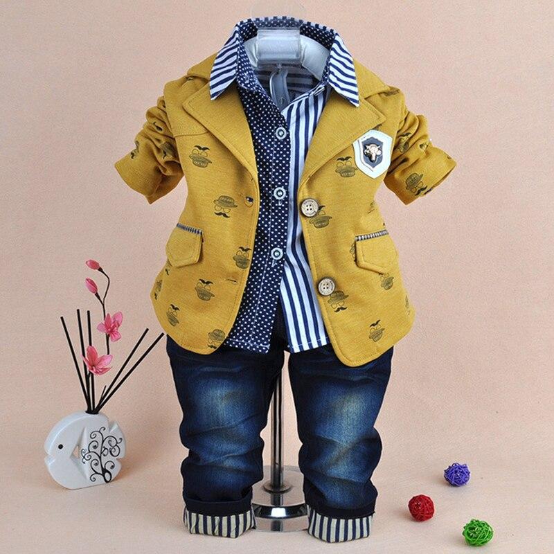 Clothes for Boys Children Sets Cat Coat Polo Shirt Jeans Pants 3pcs Outfits Autumn Kids Roupas Infantis Toddler Boy Clothing