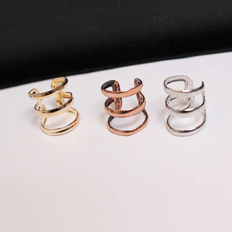 1 pc Triple Hoop Ear Cuff Clip On Earring Tragus Cartilage Non Piercing Closure Rings Fake No Piercing Jewelry Bijiux Femme