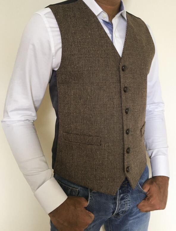 Британский стиль, винтажный коричневый шерстяной жилет в елочку для жениха, официальный костюм для жениха, жилет, мужской свадебный смокинг, жилет размера плюс - Цвет: only one vest