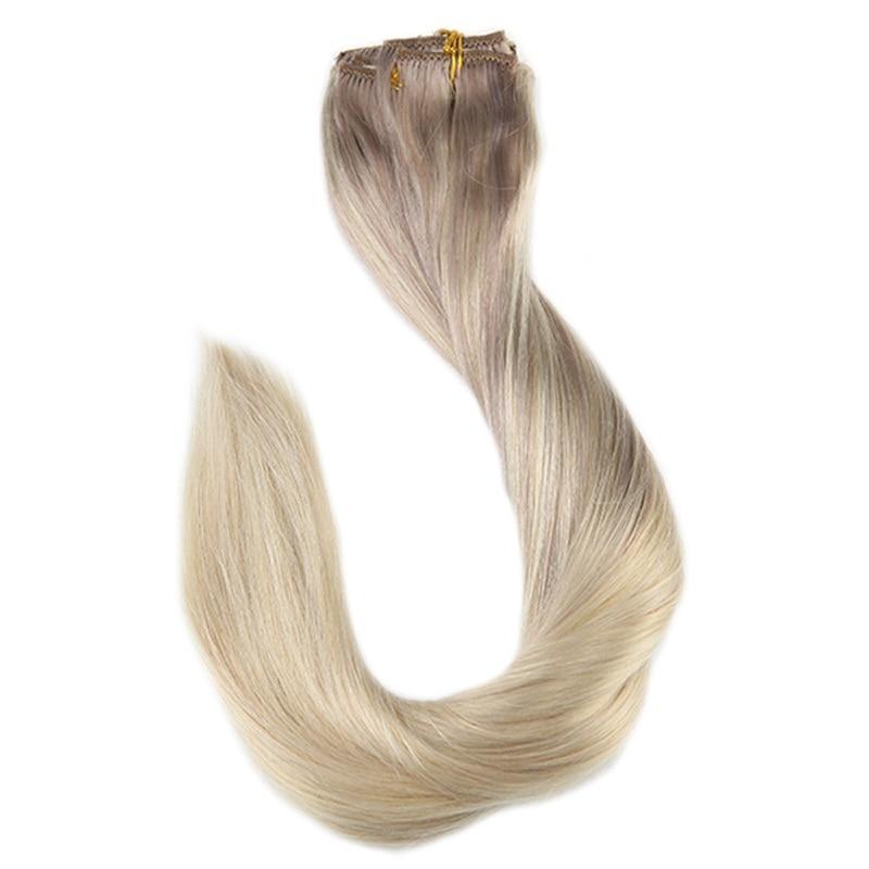 Full Shine 9Pcs 120g Clip In Human Hair Extensions Balayage Hair Extension Clip Ins 100% Machine Made Remy Brazilian Hair