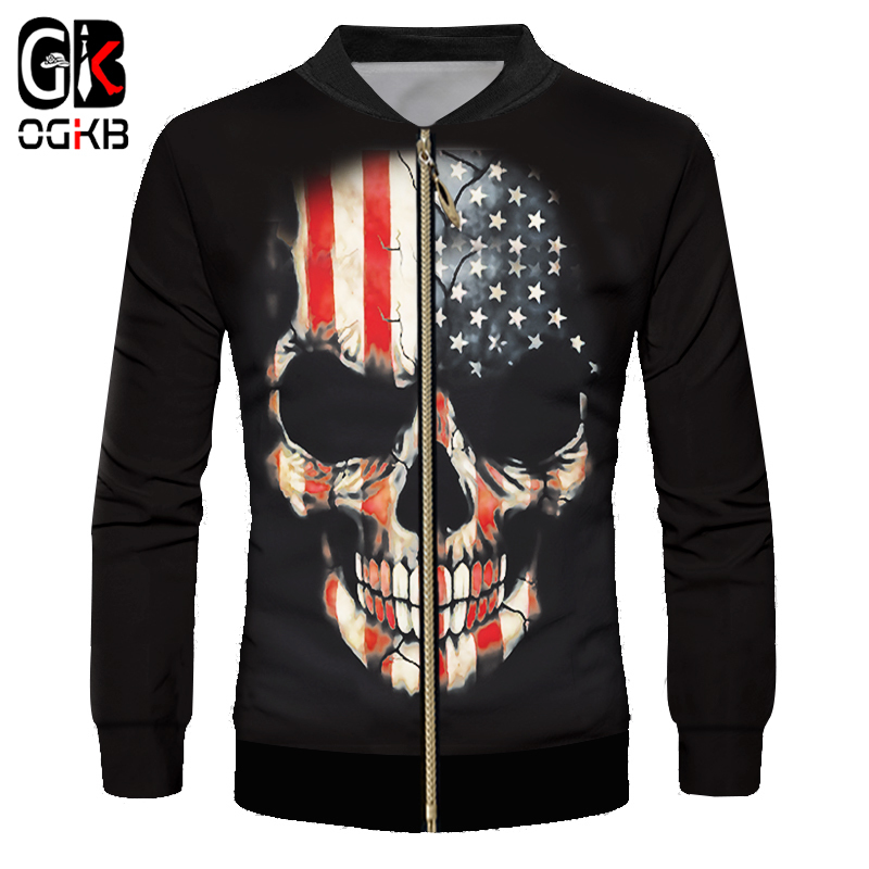 OGKB 2018 Spring Fall 3d Printed Vintage American Flag Skull <font><b>Bomber</b></font> <font><b>Jacket</b></font> <font><b>Unisex</b></font> Mystery Gothic Punk Style Long Sleeve Coats image