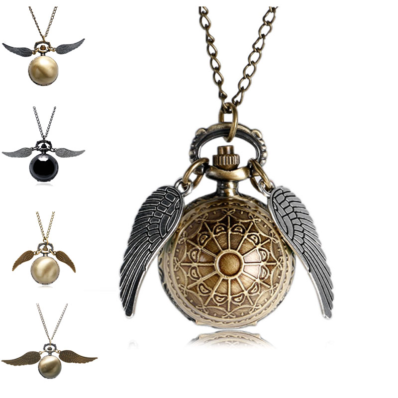 2017 Antique Golden Wizard Magic Quartz Pocket Watch Fob Clock Wings Necklace Men Women Gift Drop Shipping retro steampunk bronze pocket watch eagle wings hollow quartz fob watch necklace pendant chain antique clock men women gift