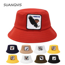 Panama Bucket Hat Men Women Summer Bucket Cap new animal logo flat top basin hat Bob Hat Hip Hop Gorros Fishing Fisherman Hat(China)