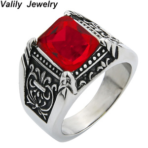 Valily Jewelry Mens Vintage Antique Silver Red CZ Ring Stainless Steel Royal Flower Wedding Party Claw Ring For Women Jewelry