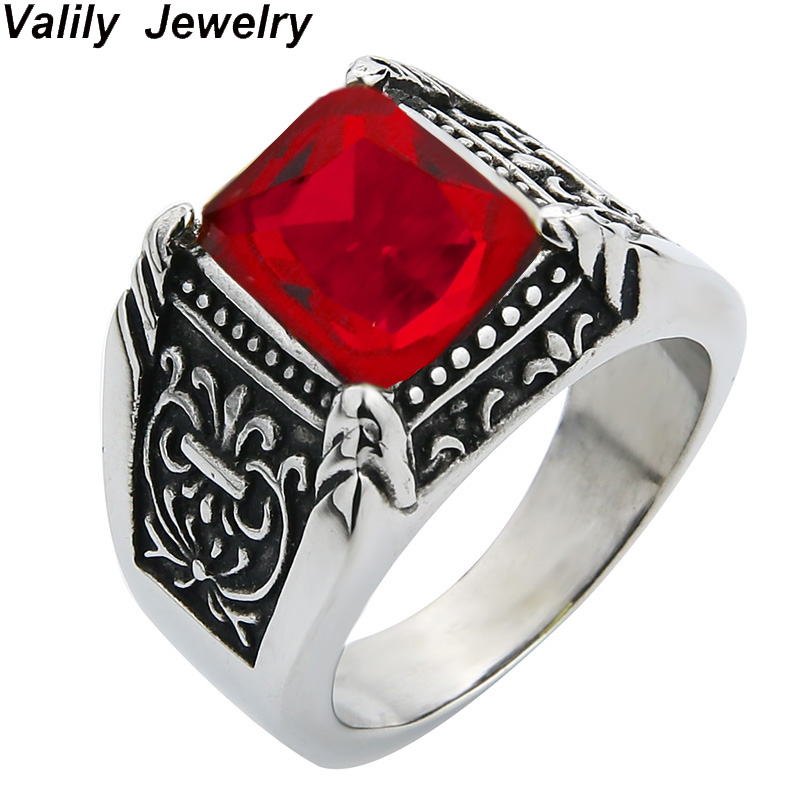 Valily Jewelry Mens Vintage Antique Silver Red CZ Ring Acero inoxidable Royal Flower Wedding Party Garra Anillo para mujer Joyería