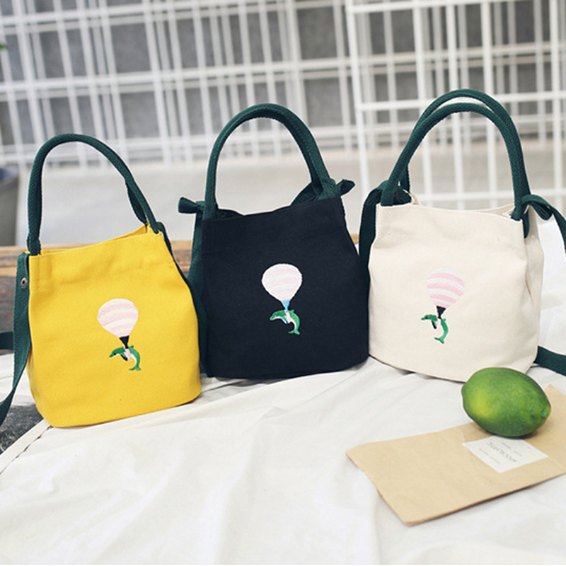 Summer New Ladies Bag Canvas Slung Shoulder Bag Small Fresh Literary Embroidery Bucket Handbag Casual Bag New