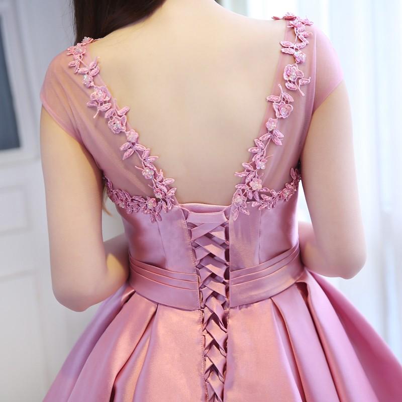 robe-de-soiree-Pink-Satin-Ball-Gown-High-Low-Arabic-Evening-Dresses-2016-Front-Short-Long (4)