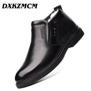 DXKZMCM Handmade Dos Homens do Couro Genuíno de Inverno Botas de Neve Quente Dos Homens Botas Ankle Boots Para Os Homens de Negócios Vestido Sapatos