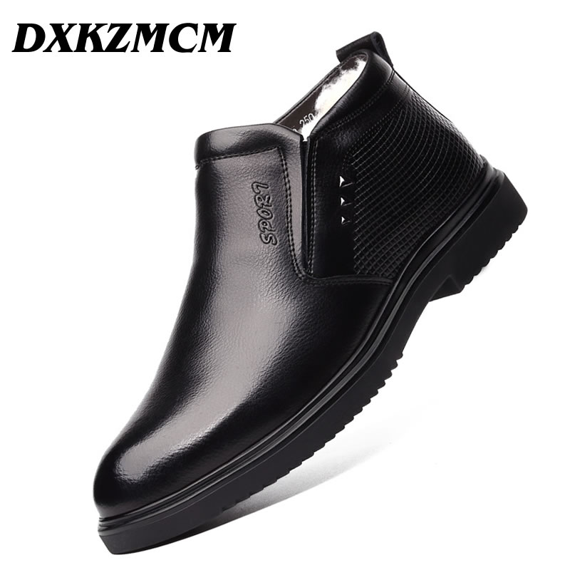 DXKZMCM Handmade Men Genuine Leather Winter Boots Warm Snow Men Boots Ankle Boots For Men Business Dress Shoes