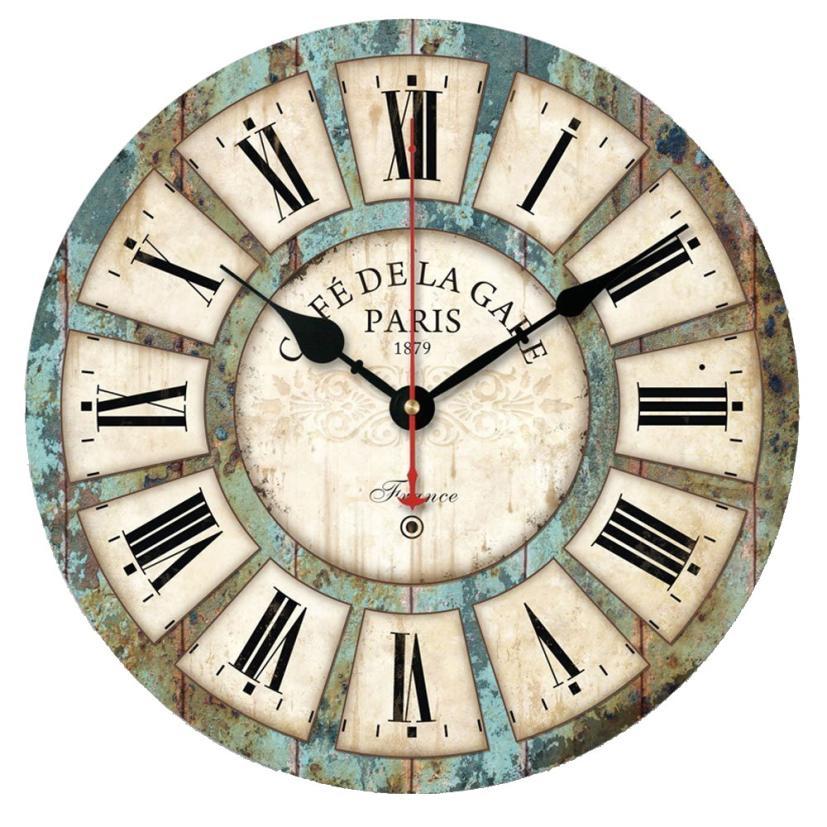 11.11 High Quality New European Style Vintage Creative Round Wood Wall Clock Quartz Bracket Clock Wood Wall Clock 1pc 1.8