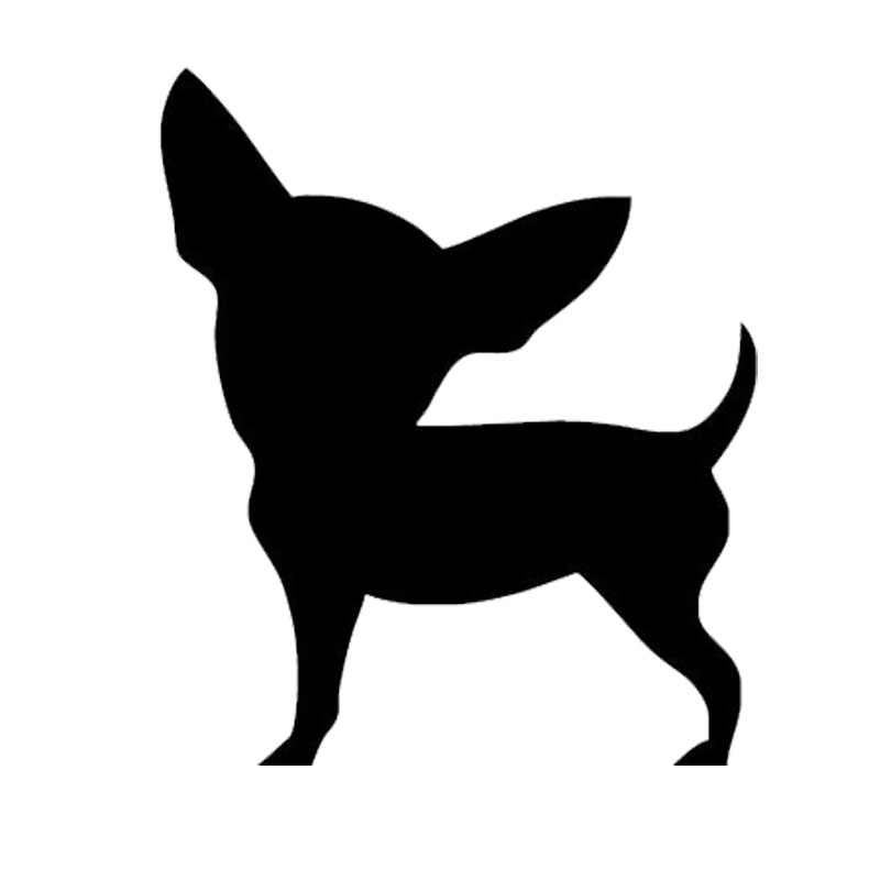 10.8*12.7CM Chihuahua Dog Car Stickers Creative Cute Decals Car Styling Decoration Accessories Black/Silver S1-0260