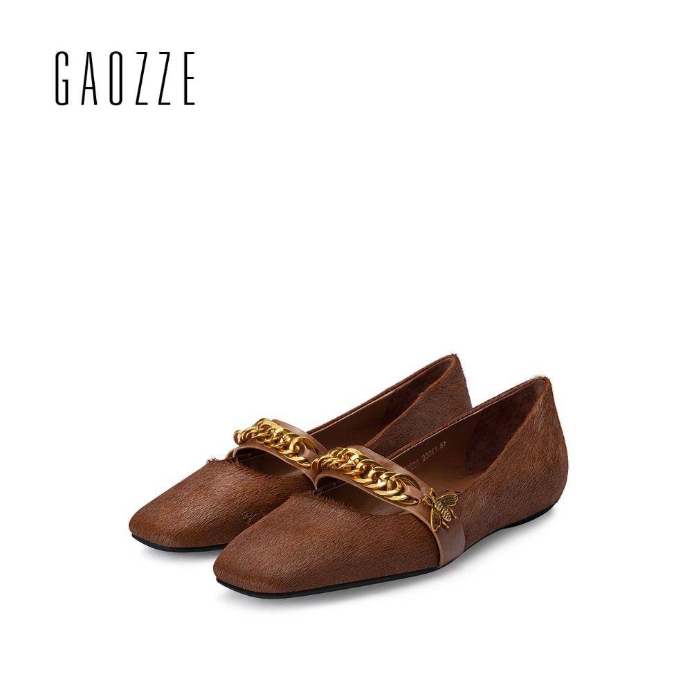 GAOZZE brand women shoes 2017 autumn new square head metal chain shallow mouth flat shoes female casual shoes luxury