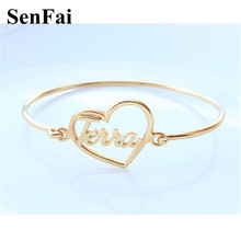 Senfai Customize Bracelets for women men Gold Love Heart Any Font Name Unice Unicorn Cufff Wicca Kids Bracelet Bangle Jewelry