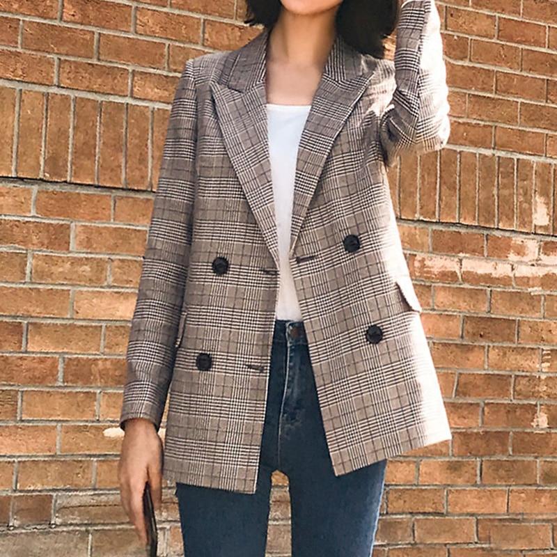 Office Lady Plaid Blazer Women 2019 Autumn Suit Blazers Mujer Formal Jackets Women Elegant  Work Blazer Feminino