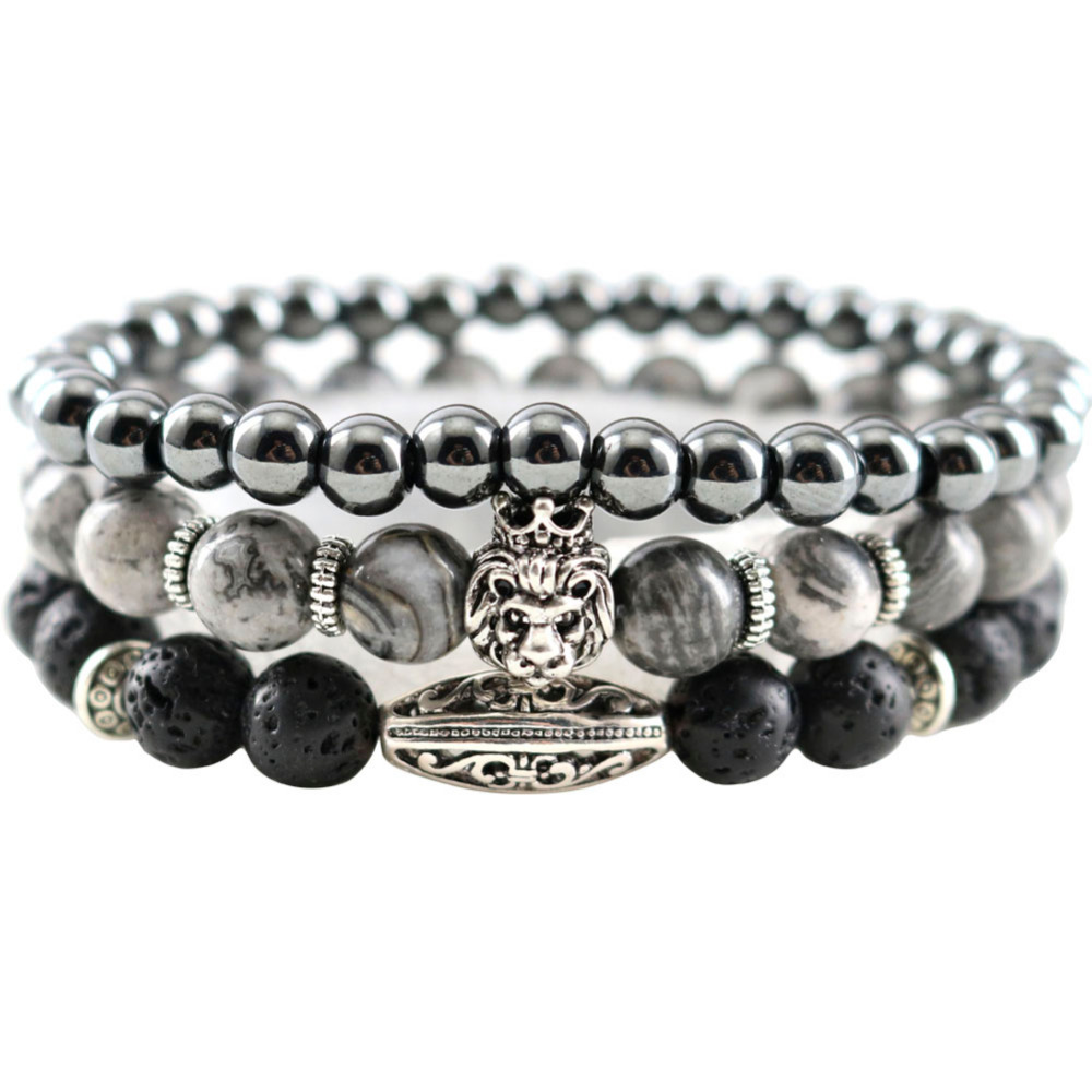 New Map Natural Stones Hematite Lava Handmade Beaded Men Bracelets Lion Charm Women Strand Bracelets & Bangles Jewelry