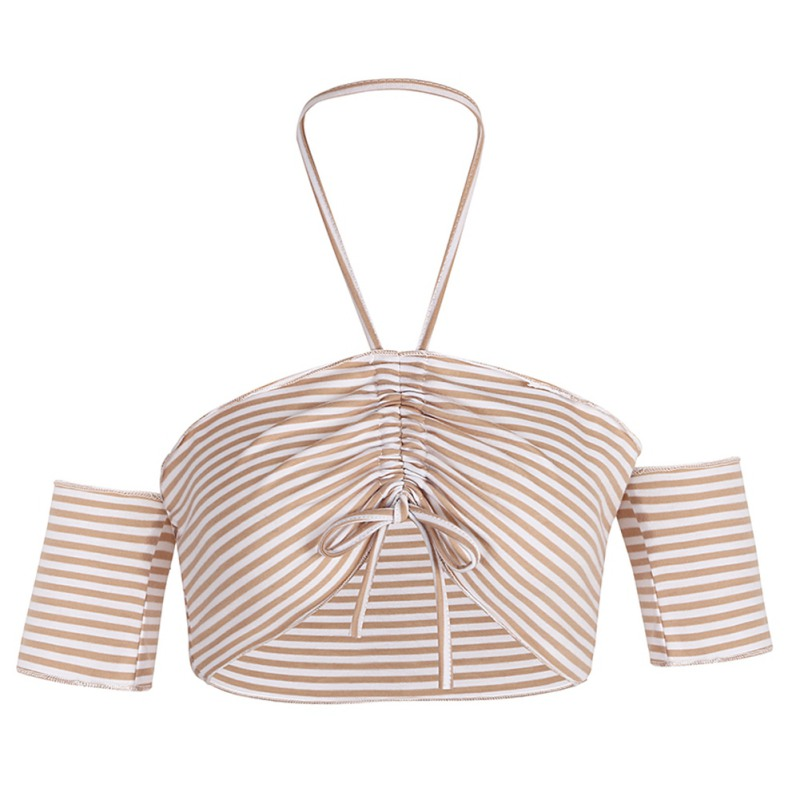 2018 New Fashion One Word Shoulder Stripe Chest Drawstring T-shirt Knitted Slash Neck Short Sleeve Ultra-Short Slim T-shirt
