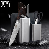 XYj Stainless Steel Knives Feather Pattern Kitchen Knives Set Sharpener Rod Scissors Knife Holder Stand Block Kitchen Tools