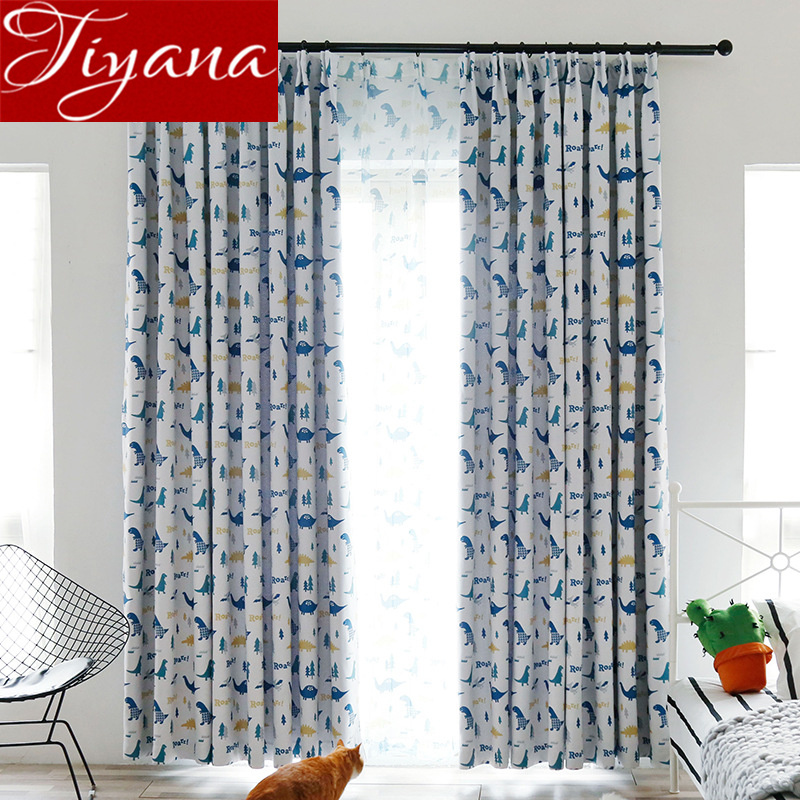 Blue Dinosaur Kids Baby Room Curtain Nursery Blackout Curtain Sheer Fabrics For Window Bedroom Drapes Tulle Curtain X505#30