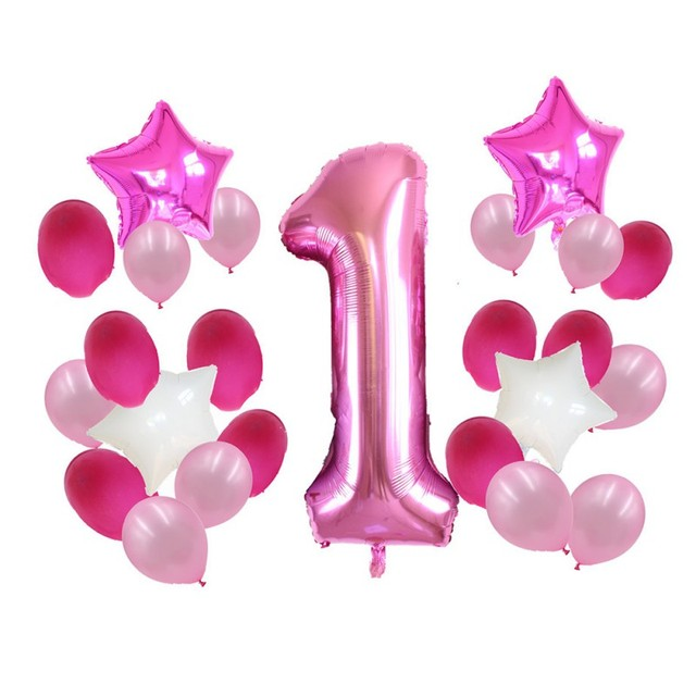 13pcs Lot 1 Year Old Baby Shower Birthday Number Foil Balloons Boy Girl Dot