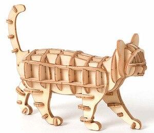 Image 2 - Laser Schneiden DIY Tier Katze Hund Panda Spielzeug 3D Holz Puzzle Spielzeug Montage Modell Holz Handwerk Kits Schreibtisch Dekoration für kinder Kid