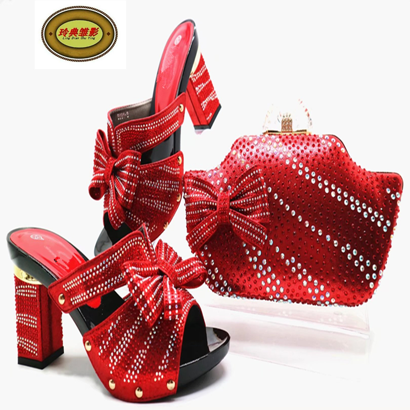 G52 Red New Arrival Rhinestonte Wedding High Heels Party Shoes And Purse Beautiful African Italian Shoes And Bag Set For Woma something red wedding shoes customized sparkly diamond red high heels platfrom party evening shoes italian shoes and bag set