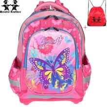 wenjie brother Kids school Backpack monsterhigh butterfly orthopedicChildren School Bags for boys and Girls mochila infantil