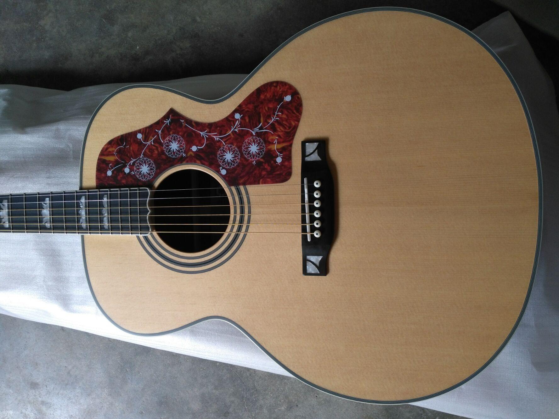 Livraison gratuite ébène fretboard une pièce cou satin finition jumbo corps SJ200 style guitare électrique acoustique guitarra