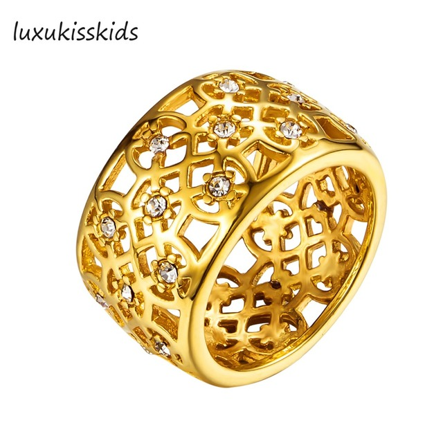 LUXUKISSKIDS Stainless Steel With AAA Grade Crystal Engagement Ring,Flower Hollow Carve Round Shape Wedding Ring Women's Jewelry