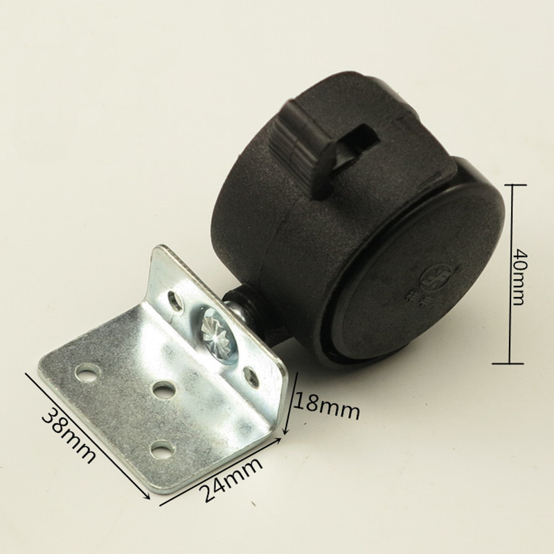 40mm Black Plastic Replacement Angle Brake Swivel Casters