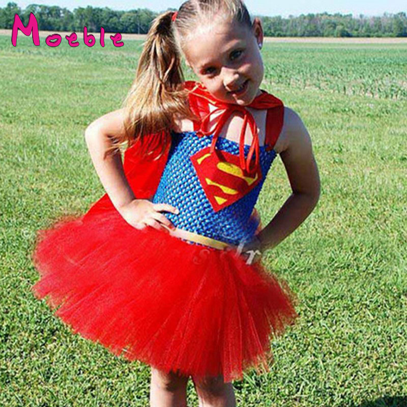 Super Hero Children Girl Tutu Dress Girls Superman Photography Props Cosplay Dress Girl Birthday Gift Halloween Costume DT-1618