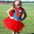 Vestido tutu meninas da menina das crianças superman super hero fotografia adereços cosplay vestido da menina de aniversário presente do dia das bruxas traje dt-1618