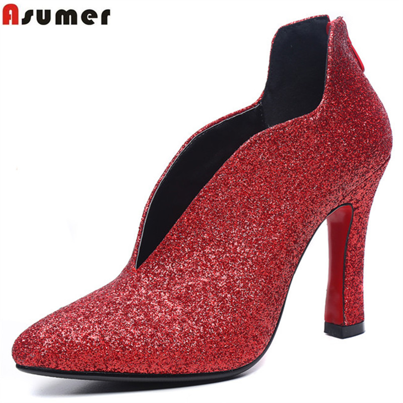 Asumer 2017 spring autumn new arrive women pumps fashion pointed toe zipper flock high heels shoes elegant lady prom shoes asumer 2017 new high quality flock women pumps pointed toe high heels 8cm office lady dress shoes woman black wine red