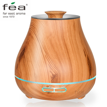 FEA 400ml Essential Oil Diffuser Wood Grain With Chroming Top Ultrasonic Aroma Cool Mist Humidifier for Office Bedroom Baby Room