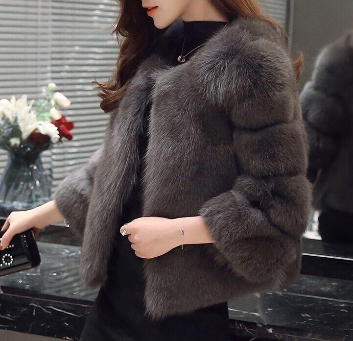 Новое поступление, модное женское меховое пальто, высокое качество, искусственный Лисий мех, пэтчворк, короткое пальто, женская зимняя теплая куртка, парка - Цвет: Silver fox color