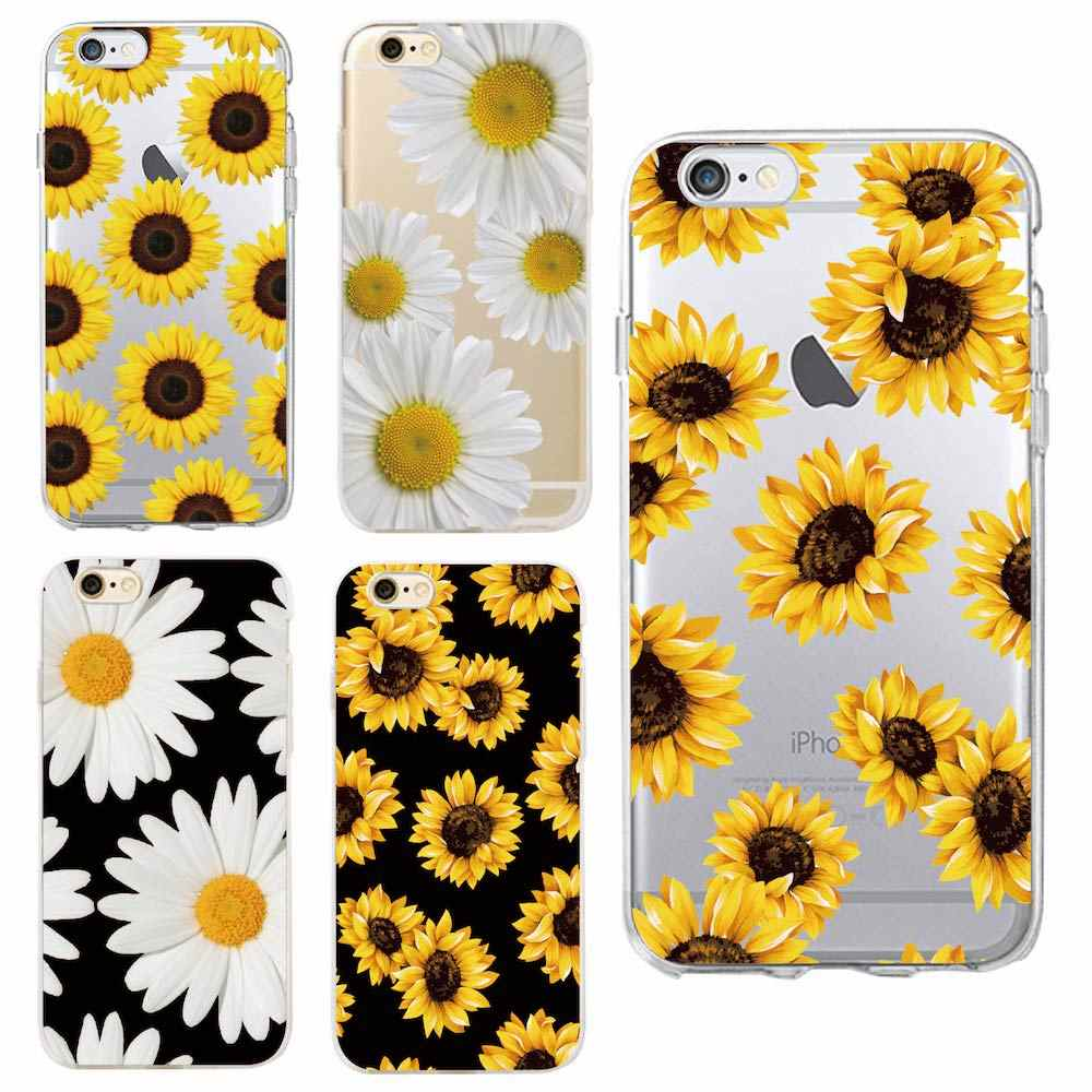 Cute Summer Daisy Sunflower Floral Flower Soft Clear Phone Case  Fundas Coque For iPhone 7 7Plus 6 6S 8 8PLUS X XS Max SAMSUNG