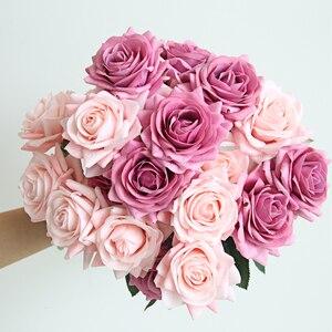Rama de seda Rosa Artificial + flores de imitación de flores de plástico regalo de San Valentín para el hogar Decoración de bodas Hotel rosa