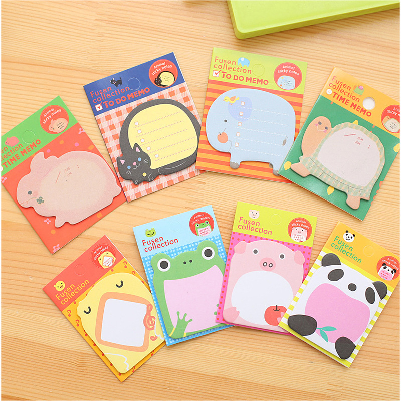 80 pcs/Lot Adhesive animal memo pad Cute cat panda post sticker Message note Office accessories School supplies FM547