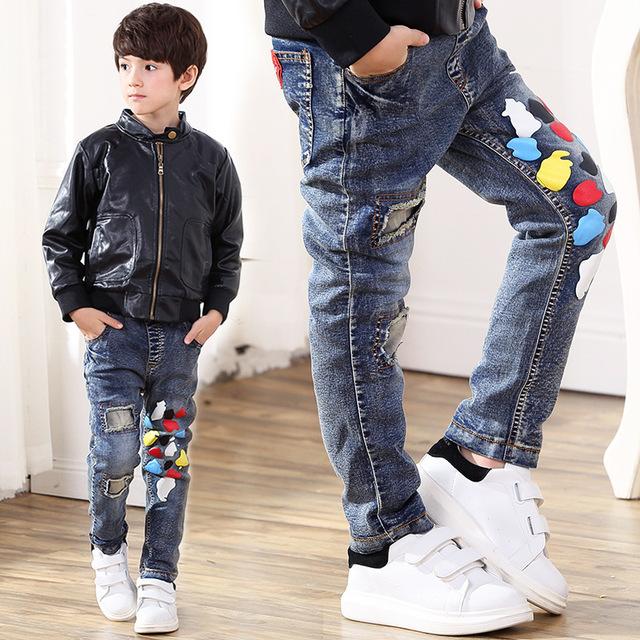 Caráter crianças Calça Jeans Cintura Elástica Calças Jeans Meninos 2017 Primavera Ocasional Lavagem Luz Jeans Meninos para Meninos das Crianças calças de Brim P250