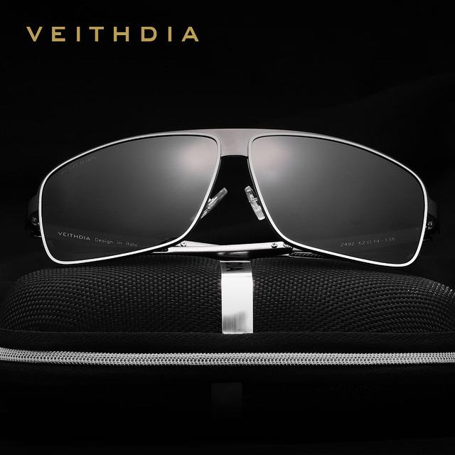 VEITHDIA Stainless Steel Aluminum Polarized UV400 Men's Square Vintage Sun Glasses Male Eyewear Sunglasses For Men 2492