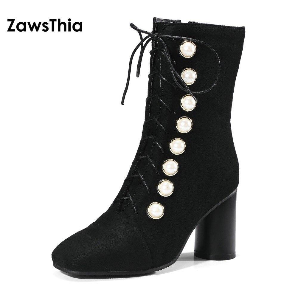 ZawsThia élégant épais talon haut femme pompes à lacets avec perles décoration mi-mollet bottes femmes filles chaussures grande taille 34-48 10