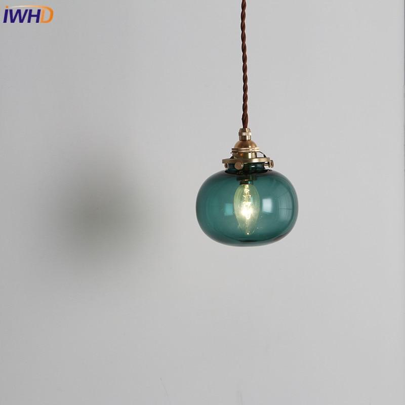 IWHD Nordic Modern Copper Pendant Lights RH LED Hanglamp Creative Glass Luminaire Suspendu Vintage Loft Pendant Lamp Bar Cafe