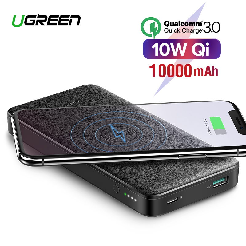 Ugreen Quick Charge3.0 Power Bank 10000mAh Portable 10W Qi Wireless Charger Power Bank for Xiaomi Fast Wireless External Battery Блузка