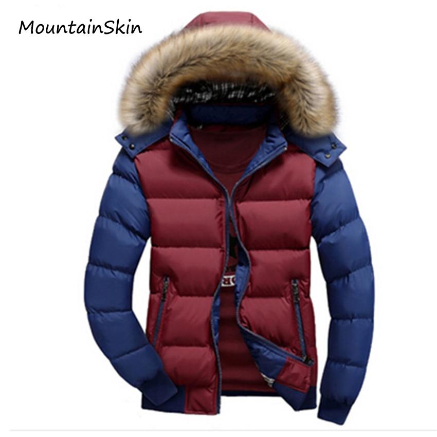 2016 Yeni erkek Kış Ceket Kalın Sıcak Kapüşonlu Mont Rahat Aşağı Pamuk Ceketler Moda Hoodies Kürk Standı Marka Giyim LA074