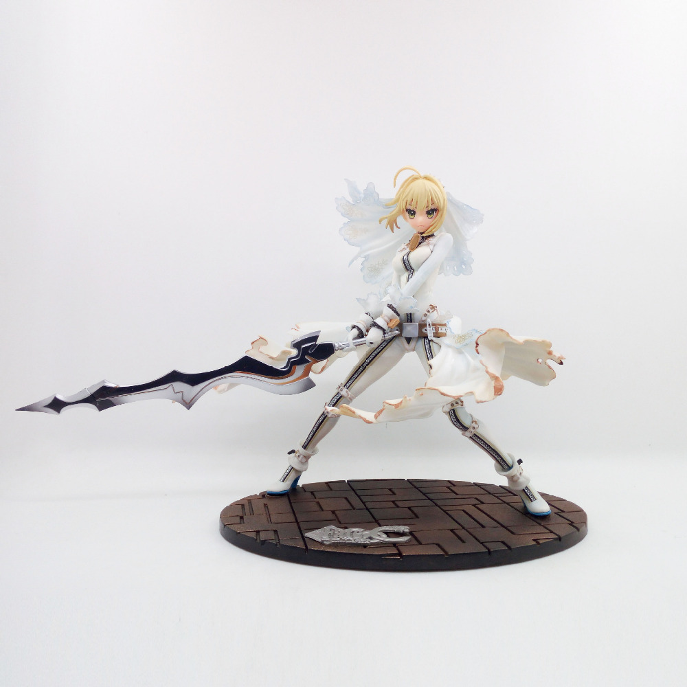 Anime Figure 22CM Fate Stay Night CCC Wedding Dress Ver. Saber Bride PVC Action Figure Collectible Model Toy Gift naruto kakashi hatake action figure sharingan ver kakashi doll pvc action figure collectible model toy 30cm kt3510