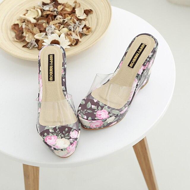 2017 New Fashion Women Pump Wedges Wedding Shoes small flower Party Shoes High Heel Platform Bridal Shoe